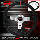 Godsnow Horn Red Stitching Deep Dish Black Steering Wheel Silver Aluminum Center