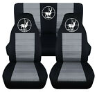 Front+Rear car seat covers black silver w deer hunter fits wrangler YJ TJ LJ