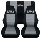 Front+Rear car seat covers black silver w mountain fits wrangler YJ TJ LJ