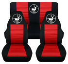 Front+Rear car seat covers black red w deer hunter fits wrangler YJ TJ LJ