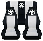 Front+Rear car seat covers black white w army star fits wrangler YJ TJ LJ