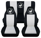 Front+Rear car seat covers black white w deer hunter fits wrangler YJ TJ LJ