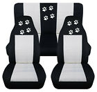 Front+Rear car seat covers black white w paw prints fits wrangler YJ TJ LJ