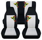 Front+Rear car seat covers black white w tree frog fits wrangler YJ TJ LJ