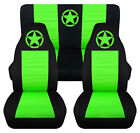 Front+Rear car seat covers black lime green w army star fits wrangler YJ TJ LJ