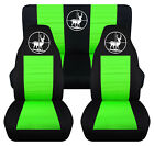 Front+Rear car seat covers black lime green w deer fits wrangler YJ TJ LJ
