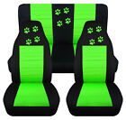 Front+Rear car seat covers blk lime green w paw prints fits wrangler YJ TJ LJ