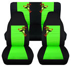 Front+Rear car seat covers black lime green w tree frog fits wrangler YJ TJ LJ