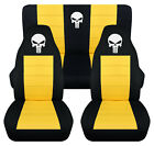 Front+Rear car seat covers blk yellow w punisher skull fits wrangler YJ TJ LJ