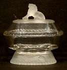 1870s GILLINDER  SONS Antique FROSTED LION Glass EAPG Oval COMPOTE  LID