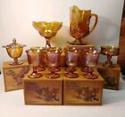 Iridescent Gold Carnival Glass Set In Box Harvest Amazing Condition
