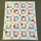 Handmade Baby or Toddler Quilt 1930s print 9 patch