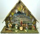Vintage Nativity Set with Creche Manger Stable 10 Piece Made in Italy large