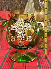 Czech Bohemian Green Glass Gold Gilt Snifter Large Goblet Hand Floral Painted