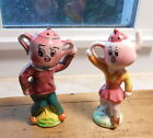 Vintage Japan Anthropomorphic Tea Pot and Sugar Heads Salt and Pepper Shakers