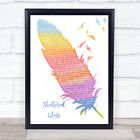 Shattered Glass Watercolour Feather  Birds Song Lyric Art Gift Print