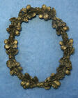 Antique Metal Gold Gilt Ornate Oval Easel Picture Photo Frame