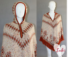 vtg SABRA AZTEC hippie FRINGED PONCHO hooded coat NATIVE AMERICAN knit sweater