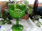 Emerald Green Compote Bowl Detailed with Spinning Stars Saw Tooth Border 8 Tall