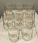 Vintage Libbey Drinking Glass Tumblers PINK BLUE GREEN FLORAL (See Selections)