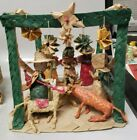 VINTAGE MEXICAN STRAW WOVEN FOLK ART NATIVITY SCENE 6 x 6 x 6