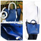 NWT Michael Kors Mae Small Blue Sapphire Pebbled Leather Messenger Bag