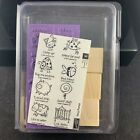 STAMPIN UP VERY PUNNY 2007 SET OF 8 UNMOUNTED RUBBER STAMP SET FROG COW PIG