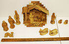 14 Piece Set NATIVITY from Jerusalem Israel OLIVE Wood Manger Jesus Stable