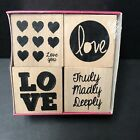 Heart Themed Wood Mounted Rubber Stamps Lot 4 Hearts Love NEW