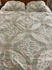 VINTAGE DOUBLE WEDDING RING QUILT  4 SHAMS CUTTER OR RESTORE 79 X 84