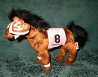 Ty Beanie Baby Barbaro Plush Horse-132 Kentucky Derby Winner Brown Pink 7.5