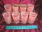 Set of 8 Vintage Mid Century PINK Chantilly Lace Glasses + Caddy holder