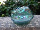 Fenton Iridescent Green Blue Bunny Rabbit on Nest with Label