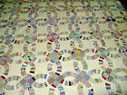 Antique DOUBLE WEDDING RING QUILT 100 COTTON all HAND Done 71 X 82