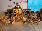 FONTANINI LIGHTED STABLE NATIVITY SET VINTAGE 24 PIECE LOT HEIRLOOM ORIGINAL BOX