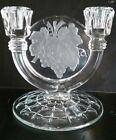 Indiana Glass Intaglio Grape Double Light Candlestick Clear/ Frost