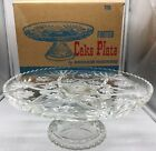 Vintage Anchor Hocking Star of David Footed Cake Plate Early American Prescut