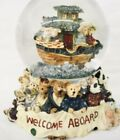 Boyds Bears Water Ball Snow Globe Welcome Aboard Noah's Ark Singing In The Rain