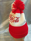 Vintage Youth's Or Ladie's Red And White Pom Pom Coca Cola  Winter Beanie/Toque