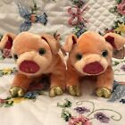 2000 Ty Zodiac Beanie Babies PIG The Pink and Gold Pig W/Tags  (7 inch) Lot of 2