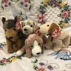 TY Beanie Babies Lot of 4 Dogs Puppies Sniffer Sarge Tricks Rufus Animal Toy