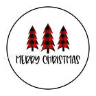 48 MERRY CHRISTMAS PLAID TREES ENVELOPE SEALS LABELS STICKERS 12 ROUND
