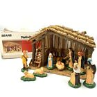 Vintage Sears Nativity Set 11 Hand Painted Ceramic Figures + Wood Stable 7197169