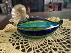 OGGETTI MURANO ART GLASS DUCK Blue And Yellow Stripe With Gold Head