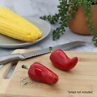 Ceramic Red Chili Pepper Salt  Pepper Shakers Set Vegetable Collectible Shakers