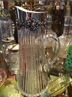 CUT GLASS PITCHER JUG with STERLING SILVER COLLAR AMERICAN BRILLIANT PERIOD