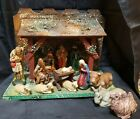 VINTAGE COMPOSITION NATIVITY  MANGER SET GERMANY 13 FIGURINES