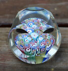 Vintage Baccarat Style Millefiori Cane Flower Cut Art Glass Marble Paperweight
