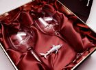 Limited Edition Swarovski Shark Ornament with Two Shark Wine Glasses in a Be