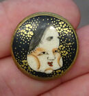 Antique SATSUMA Porcelain HAND PAINTED Japanese IMMORTAL with 4 EYES Button